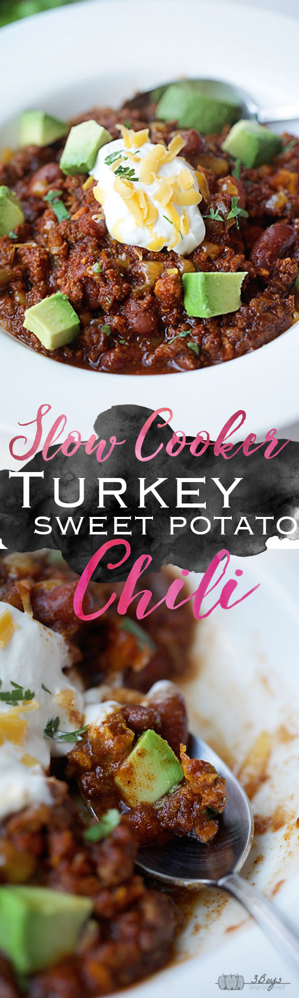 Slow Cooker Turkey Sweet Potato Chili || www.3boysunprocessed.com